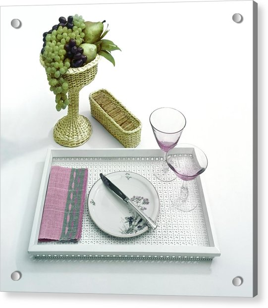 A Summer Table Setting On A Tray Acrylic Print