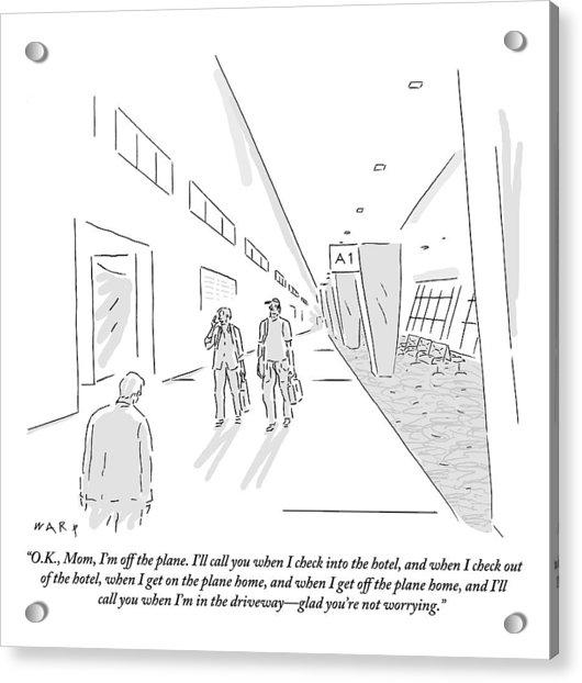 A Traveler Walking Through The Airport Speaks Acrylic Print
