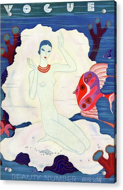 A Vintage Vogue Magazine Cover Of A Naked Woman Acrylic Print