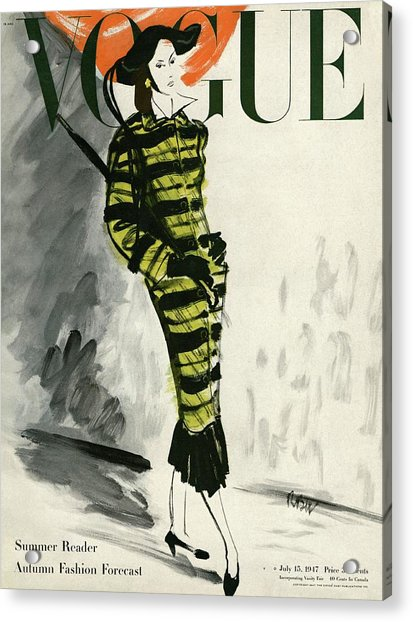 A Vogue Cover Of A Woman Wearing A Striped Coat Acrylic Print