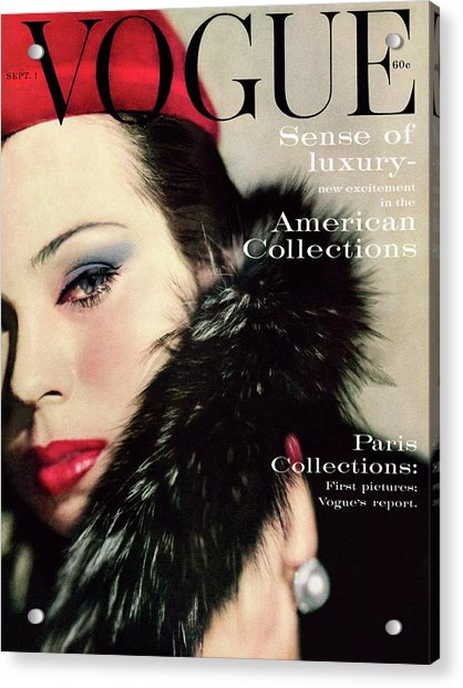 A Vogue Cover Of Morris Wearing A Fur Collar Acrylic Print