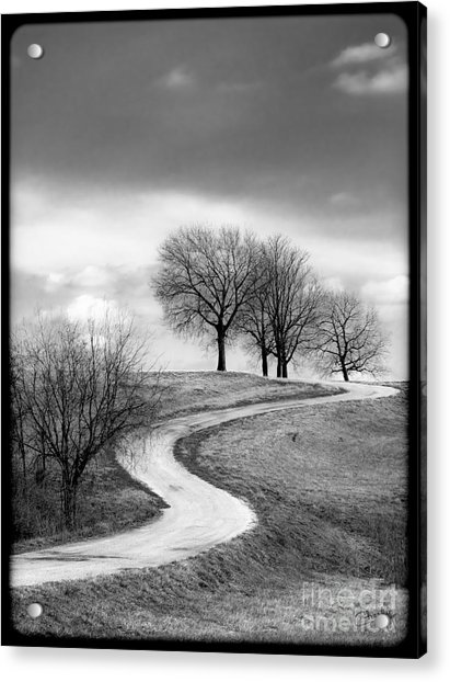 A Winding Country Road In Black And White Acrylic Print