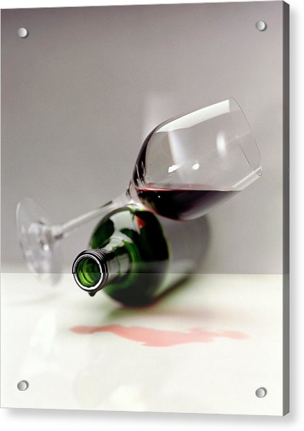 A Wine Bottle And A Glass Of Wine Acrylic Print