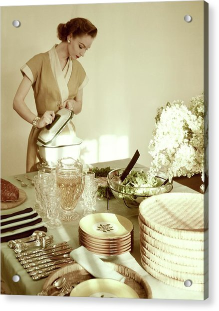 A Woman At A Dining Table Acrylic Print