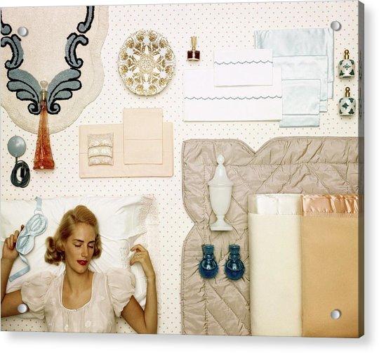 A Woman Sleeping Next To An Assorted Range Acrylic Print