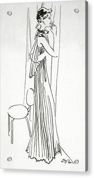 A Woman Smoking Acrylic Print by Abrams
