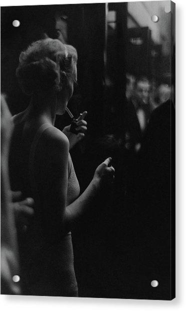 A Woman Smoking At The Music Box Acrylic Print