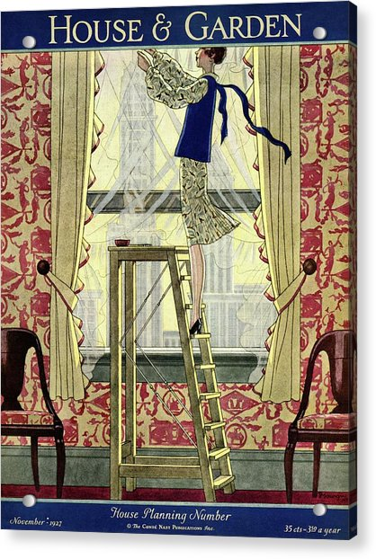 A Young Matron Adjusting Curtains Acrylic Print