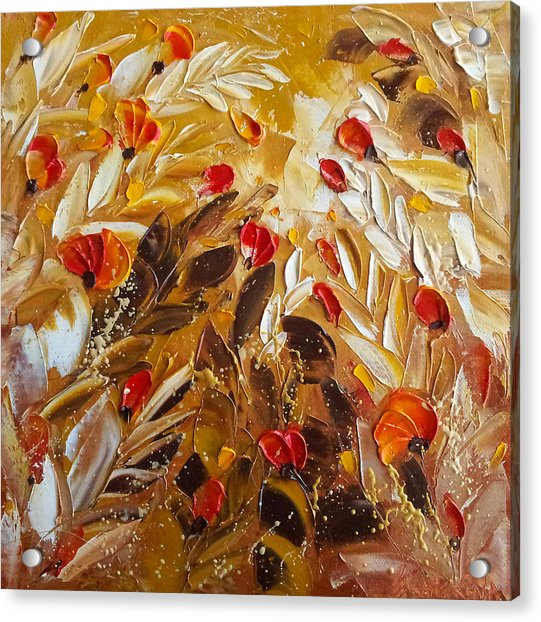 Abstact Red Flower Painting On Caramel By Ekaterina Chernova Acrylic Print