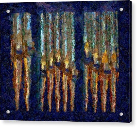Abstract Blue And Gold Organ Pipes Acrylic Print