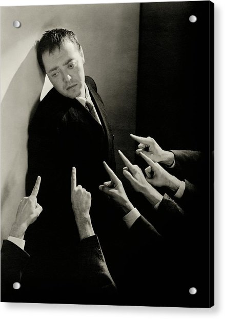 Actor Peter Lorre Posing Against A Wall Acrylic Print by Lusha Nelson