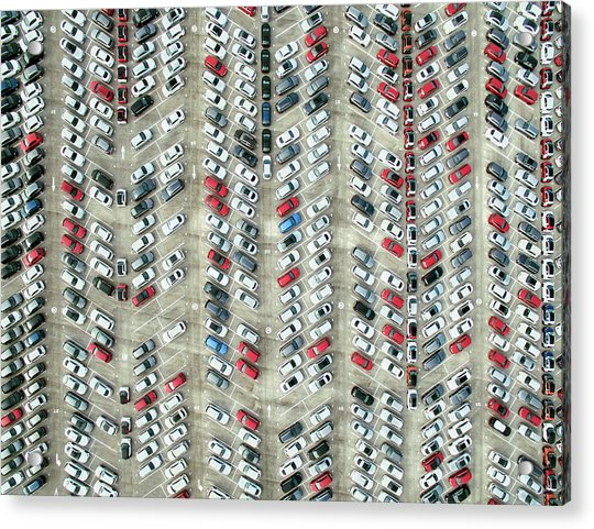 Aerial View Of Parked Cars Acrylic Print