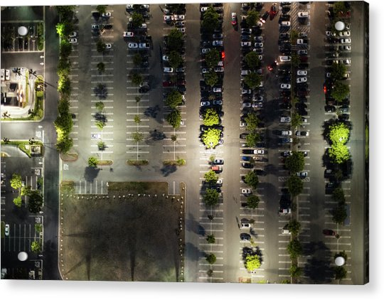 Aerial View Of  The Suburb Parking,la Acrylic Print