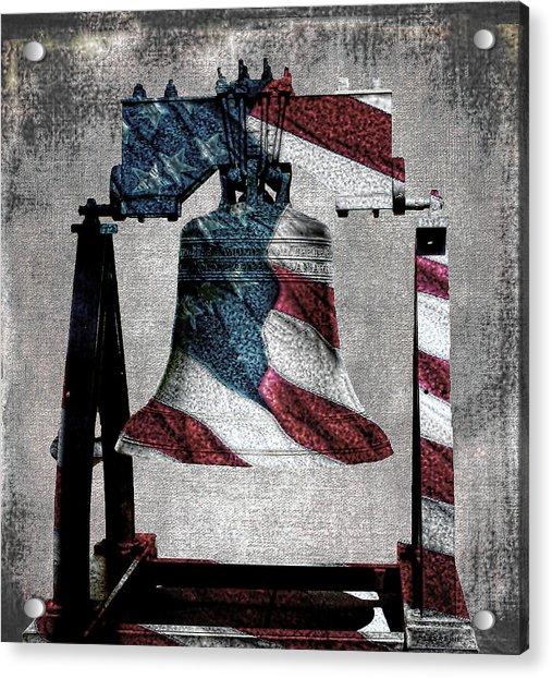 All American Liberty Bell Art_denim Acrylic Print