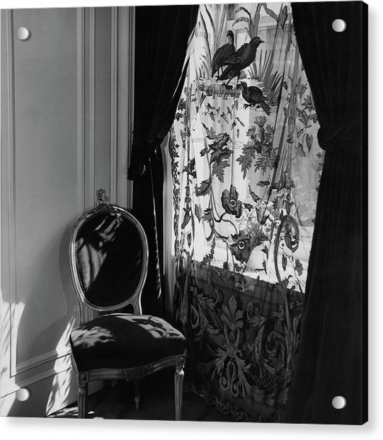 An Antique Chair By A Window Acrylic Print by Cecil Beaton