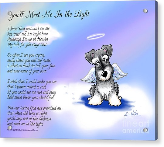 Angel Schnauzer With Poem Acrylic Print by Kim Niles