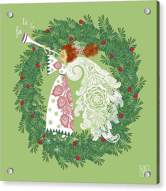 Angel With Christmas Wreath Acrylic Print