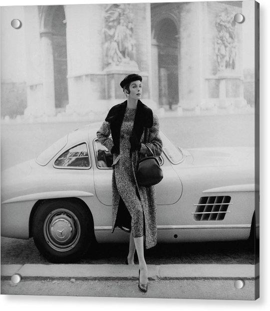 Anne St. Marie By A Mercedes-benz Car Acrylic Print