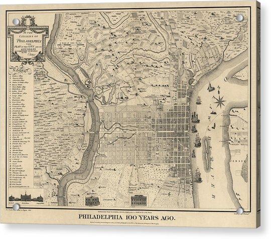 Antique Map Of Philadelphia By P. C. Varte - 1875 Acrylic Print