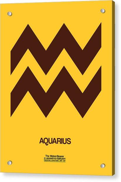 Aquarius Zodiac Sign Brown Acrylic Print