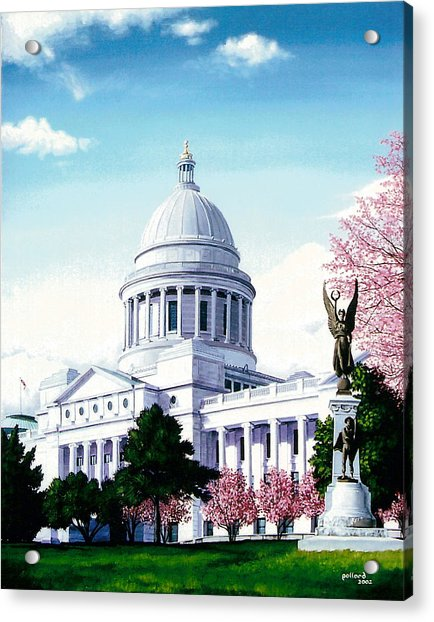 Arkansas Capitol Blossoms Acrylic Print