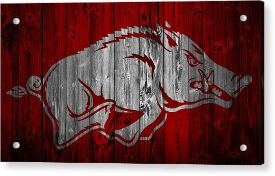 Arkansas Razorbacks Barn Door Acrylic Print