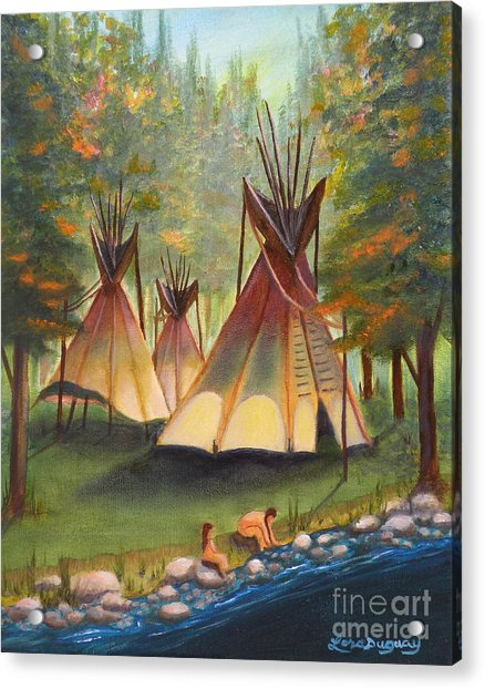 Autumn River Camp Acrylic Print