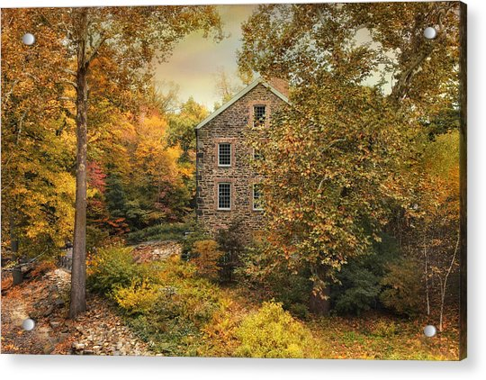 Autumn Stone Mill Acrylic Print