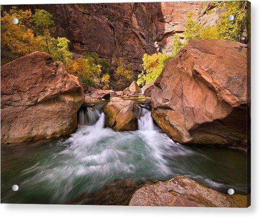 Autumn Waterfall In Zion Acrylic Print