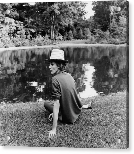 Babe Paley Sitting By A Pond Acrylic Print