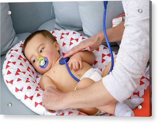 Baby Boy Being Examined By A Doctor Acrylic Print