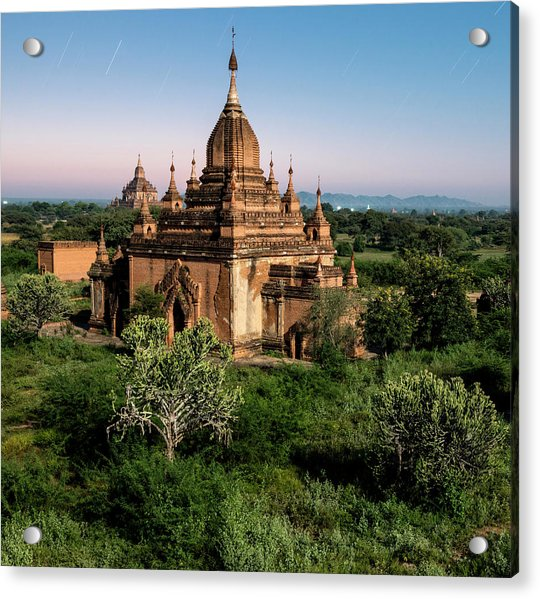 Bagan, Ancient Temple Lit By Moonlight Acrylic Print by Martin Puddy