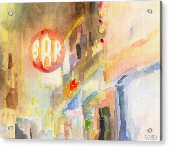 Bar 8th Avenue Watercolor Painting Of New York Acrylic Print by Beverly Brown
