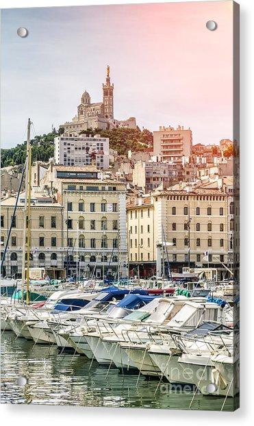 Basilique Notre-dame De La Garde From The Vieux Port Of Marseille Acrylic Print by Pier Giorgio Mariani