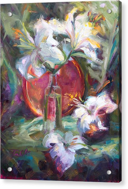 Acrylic Print featuring the painting Be Still - Casablanca Lilies With Copper by Talya Johnson