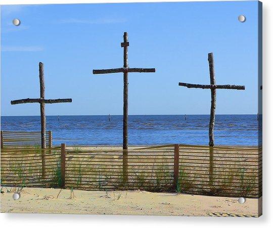 Beach Crosses Acrylic Print