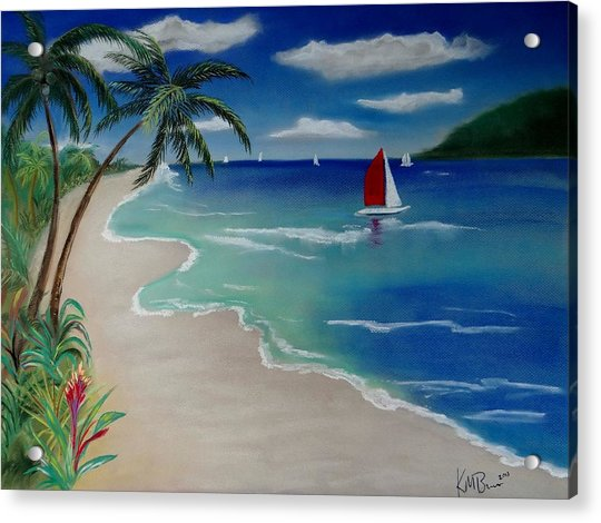 Beach With Sailboat Acrylic Print