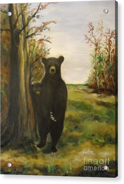 Acrylic Print featuring the painting Bear Necessity by Laurie Lundquist