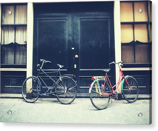 Bicycles In Amsterdam Acrylic Print