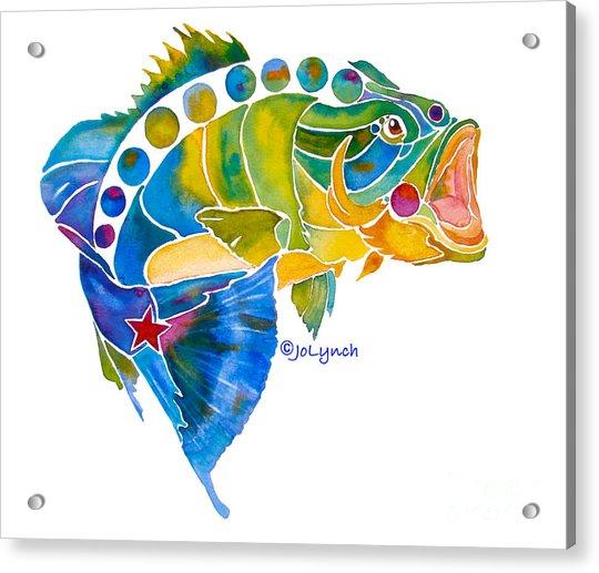 Big Mouth Bass Whimsical Acrylic Print by Jo Lynch