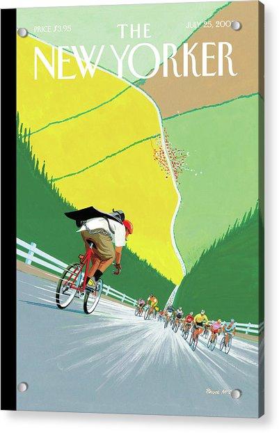 Bike Messenger Racing Towards Bikers Racing Acrylic Print by Bruce McCall