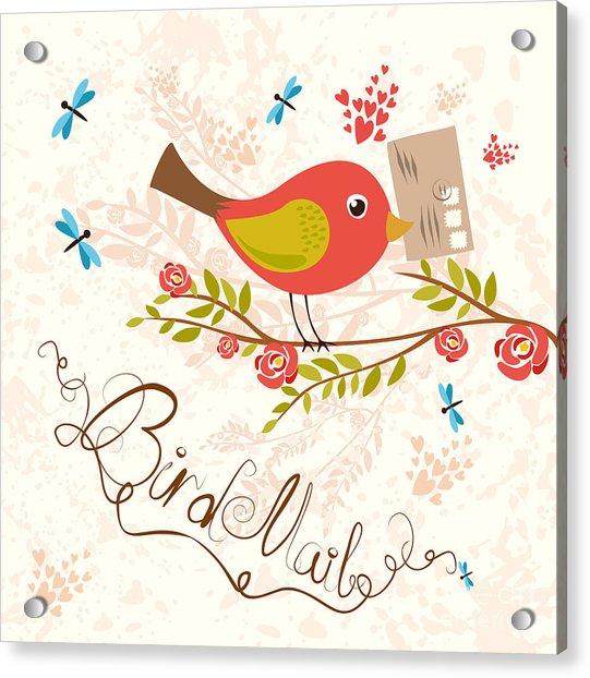 Bird-mail. Postcrossing Cheerful. Cute Acrylic Print
