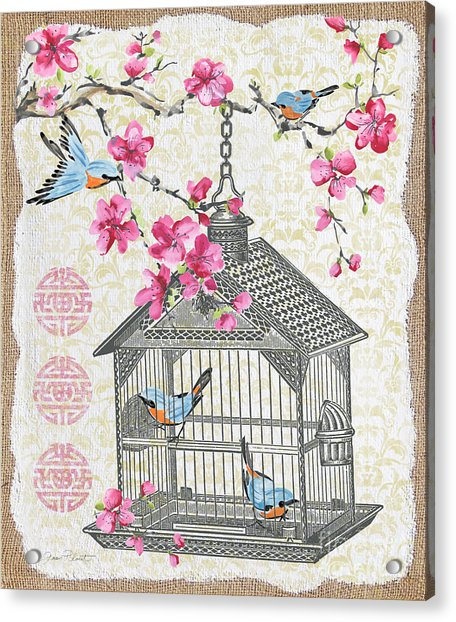 Birdcage With Cherry Blossoms-jp2611 Acrylic Print