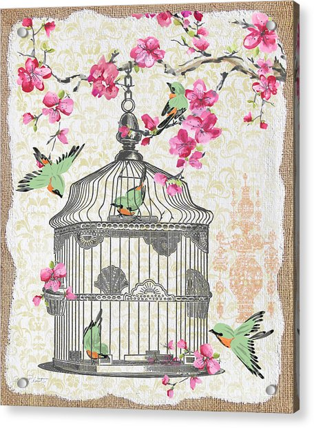 Birdcage With Cherry Blossoms-jp2613 Acrylic Print