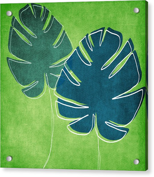 Blue And Green Palm Leaves Acrylic Print