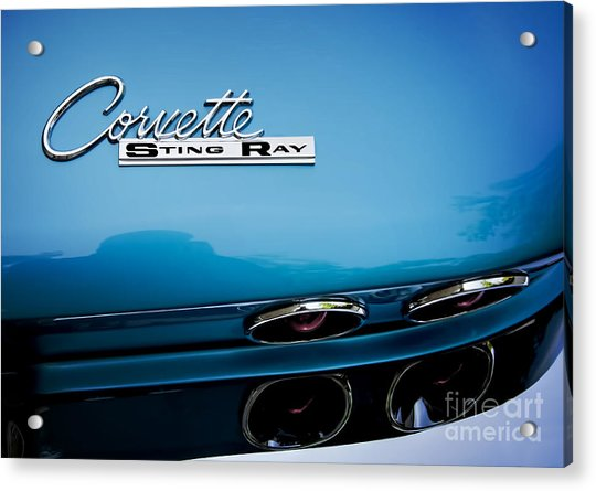 Blue Corvette Sting Ray Rear Emblem Acrylic Print