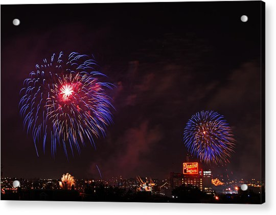 Blue Fireworks Over Domino Sugar Acrylic Print