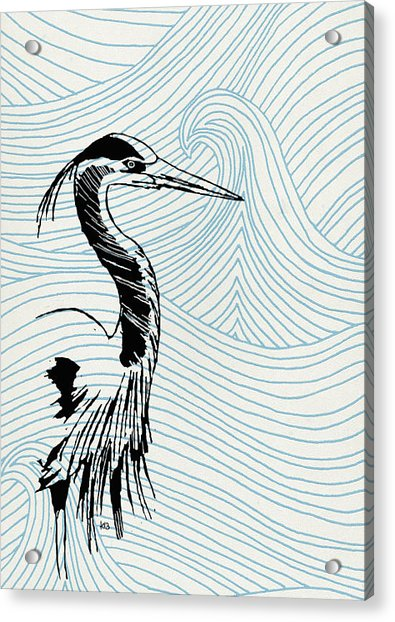 Blue Heron On Waves Acrylic Print