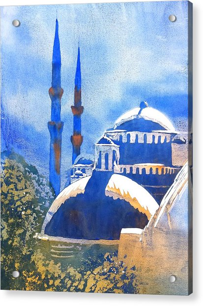 Blue Mosque In Blues Acrylic Print