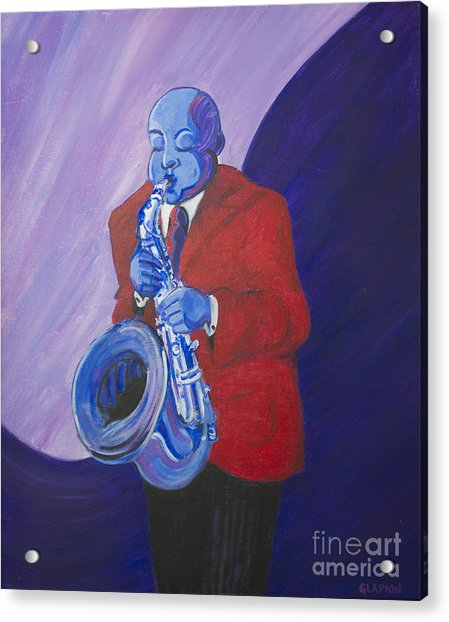 Acrylic Print featuring the painting Blue Note by Dwayne Glapion